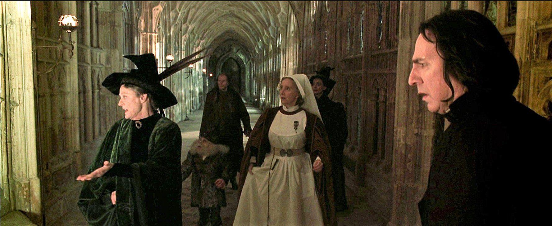 Alan Rickman Warwick Davis Maggie Smith David Bradley Gemma Jones And Sally Mortemore In Harry Potter And The Chamber Of Secrets 2002
