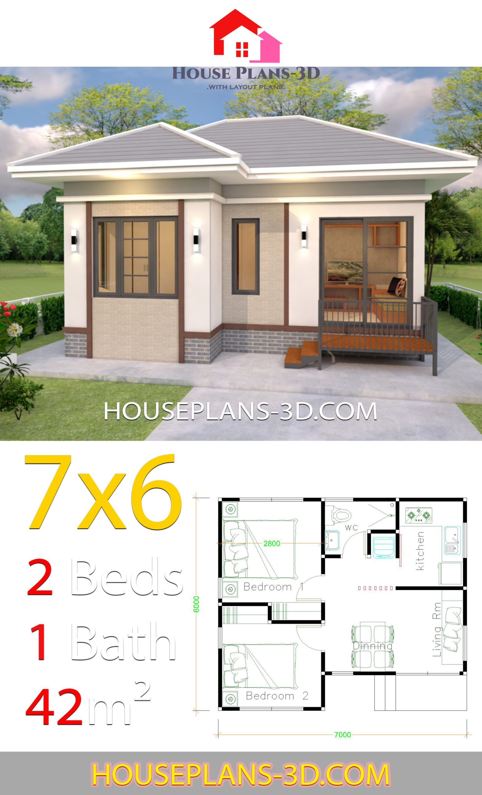 House Plans Design 7x6 With 2 Bedroos Hip Roof House Plans 3d House Plans House Plan Gallery House Construction Plan