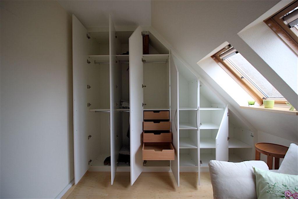 Klassischer Dachschragenschrank Offen Dachschragenschrank Schrank Dachschrage Hochbett Selber Bauen