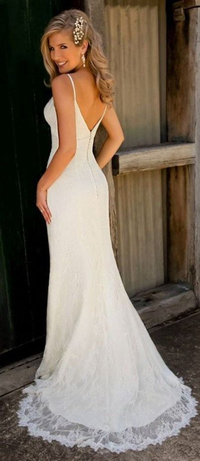 Spaghetti straps v neck lace mermaid wedding dress pear for Simple form fitting wedding dresses