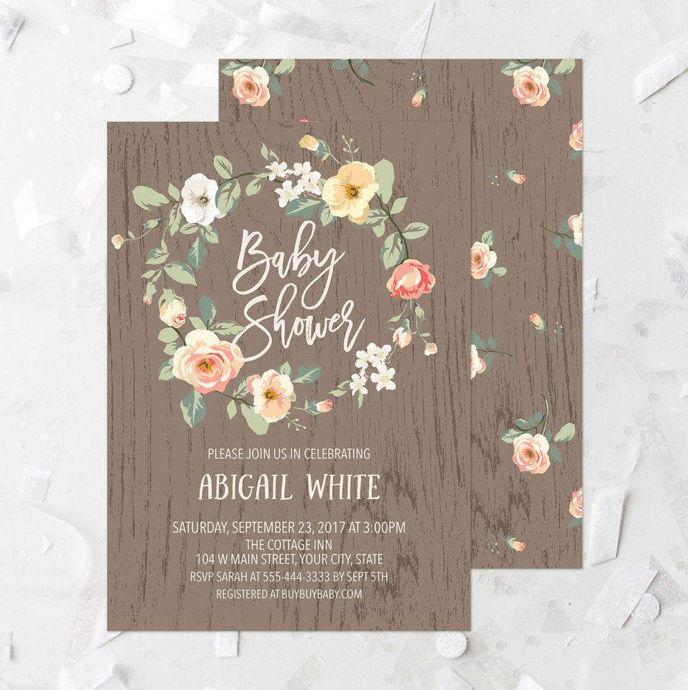 bridal shower invitation pictures%0A Rustic Peach Baby Shower Invitation Printable Peach Floral Wreath Baby Shower  Invite Country Baby Shower Invite