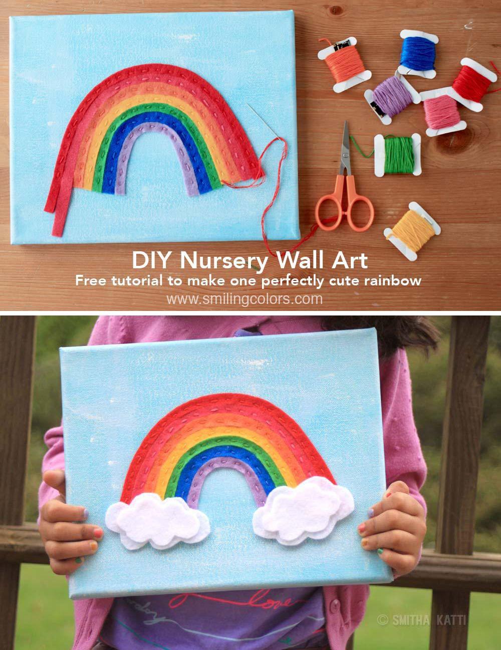 felt rainbow on canvas an easy diy nursery wall art on simply wall street id=56024