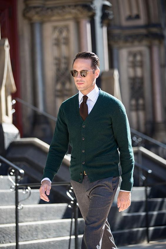 Green Cardigan Grey Trousers A Brown Tie