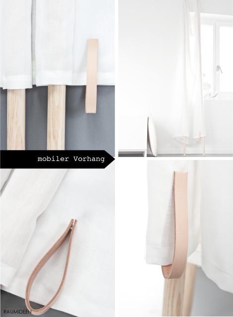 vorh nge selbst gemacht ein mobiler vorhang ohne bohren und schrauben interior. Black Bedroom Furniture Sets. Home Design Ideas