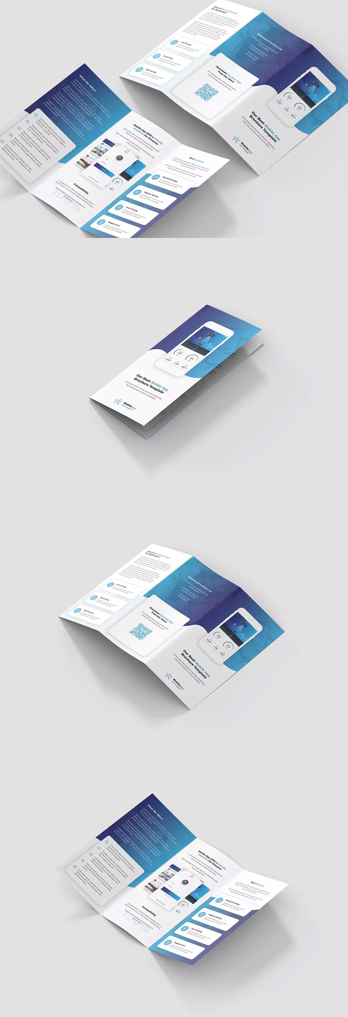 Mobile App Tri Fold Brochure Template Psd Trifold Brochure Template Trifold Brochure Print Design Brochure A4 tri fold brochure template
