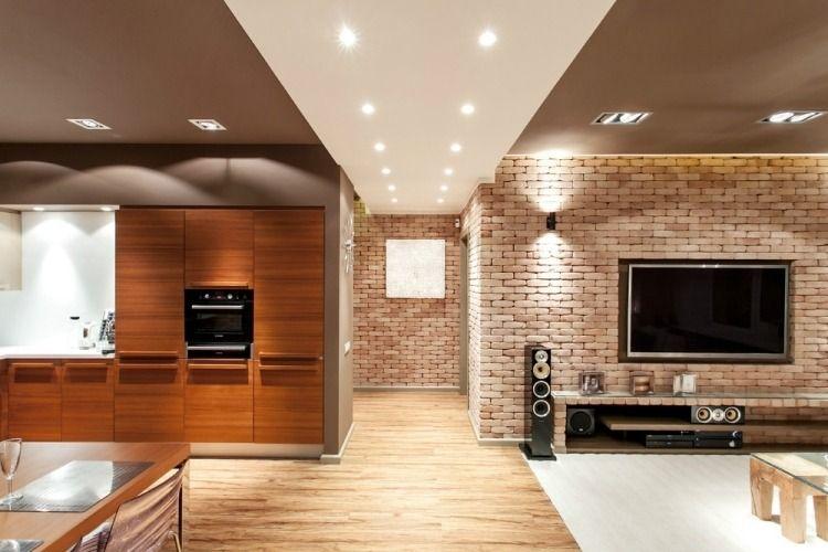 Wohnzimmerwände modern gestalten - Verblendsteine in Backstein - wohnzimmer farblich gestalten braun