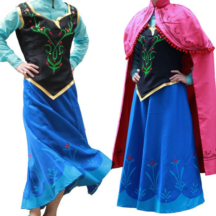Online Shop princess anna costume frozen anna dress adult cosplay halloween costumes for women frozen anna dress fantasy women custom  sc 1 st  Pinterest & adult princess blue dress cosplay halloween costumes for women party ...