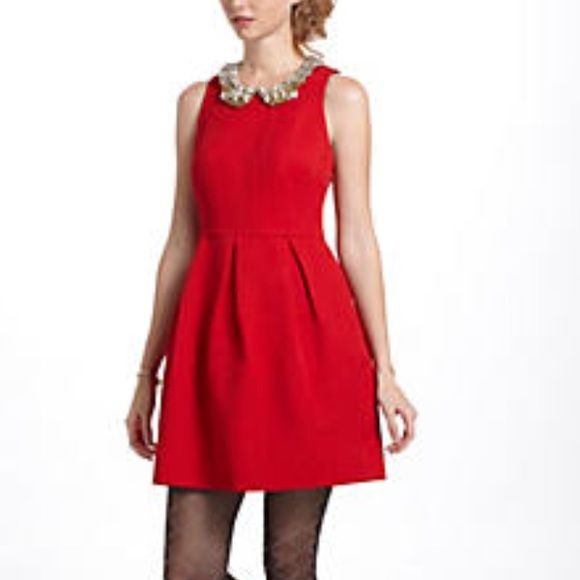 Moulinette Soeurs By Anthropologie Red Dress This Fit And Flare Is Perfect For Any Occasion The Color That Compliments Every Skin Tone