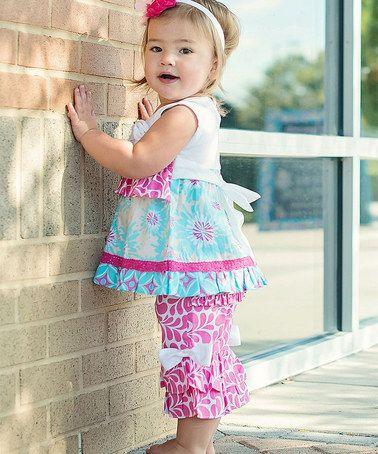 Look at this #zulilyfind! Candy Sadie Splash Ruffle Capri Pants - Infant, Toddler & Girls by RuffleButts #zulilyfinds