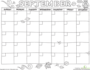 create a calendar september printable calendars and worksheets. Black Bedroom Furniture Sets. Home Design Ideas