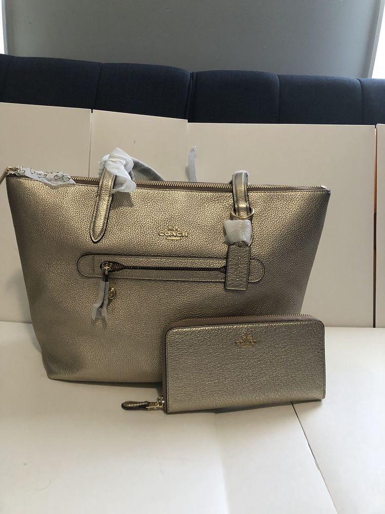 7101803d9cb COACH Women's Taylor Tote Metallic Leather Bag Handbag And Wallet Set Gold  2359 #purses #fashion