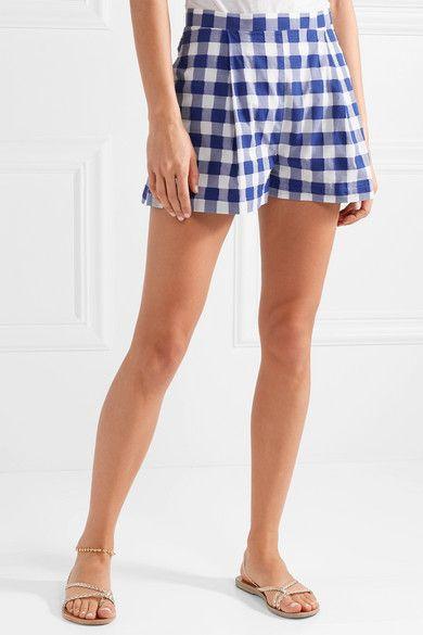 Gingham Fil Coupé Cotton Shorts - Blue MDS Stripes CpnEZ8k