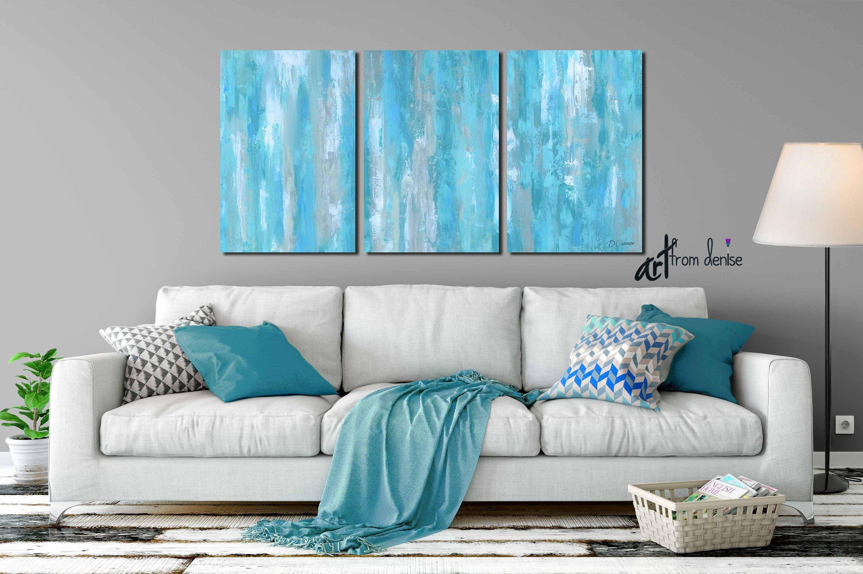 large wall art teal gray aqua blue abstract multi panel on large wall art id=66369