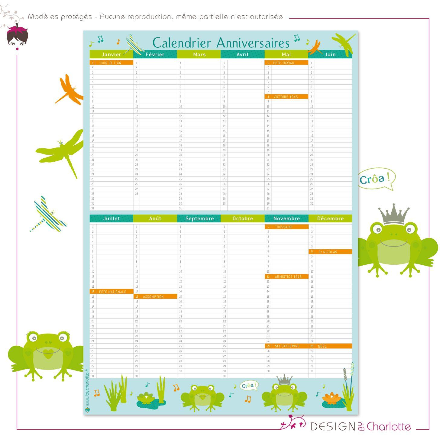 calendrier perp tuel grenouille vous pourrez noter tous les anniversaires et les f tes pour ne. Black Bedroom Furniture Sets. Home Design Ideas