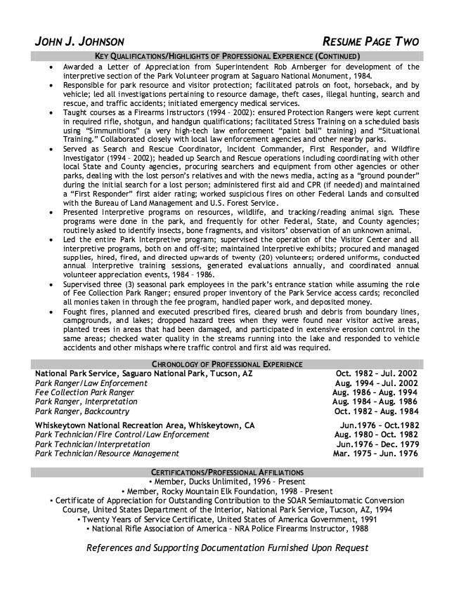 park ranger job sample resume