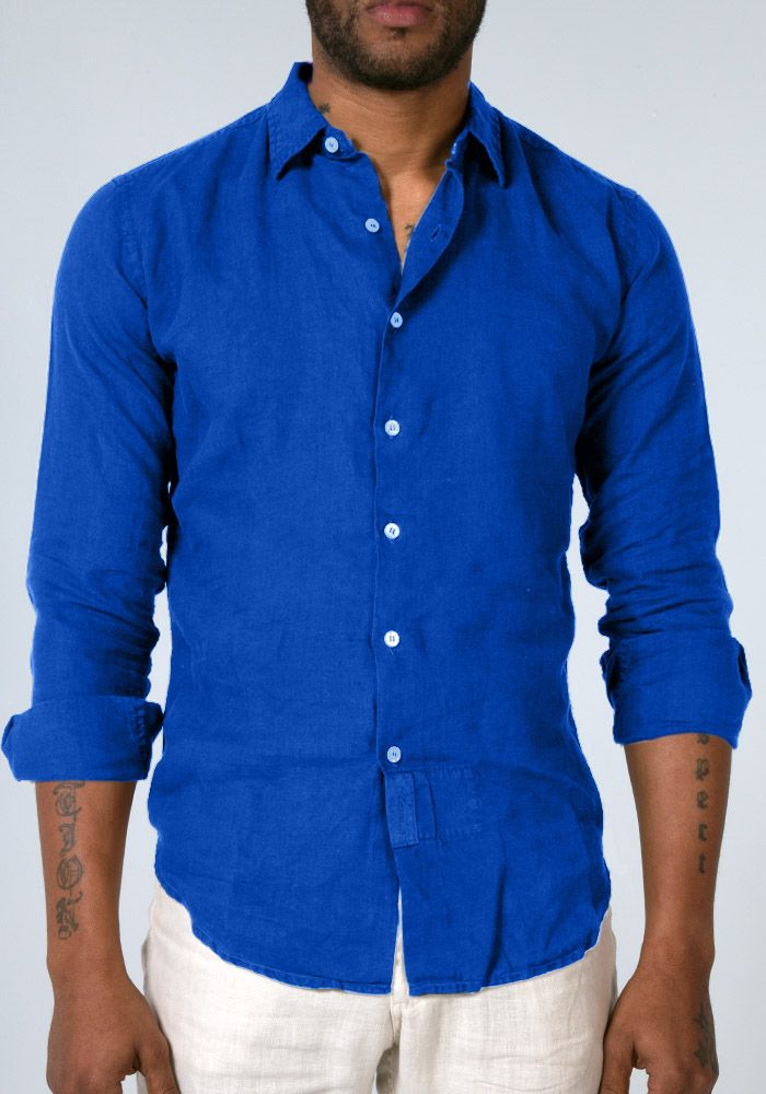 100% Linen Regular Fit Long Sleeve Button Down Shirt in Royal Blue ...