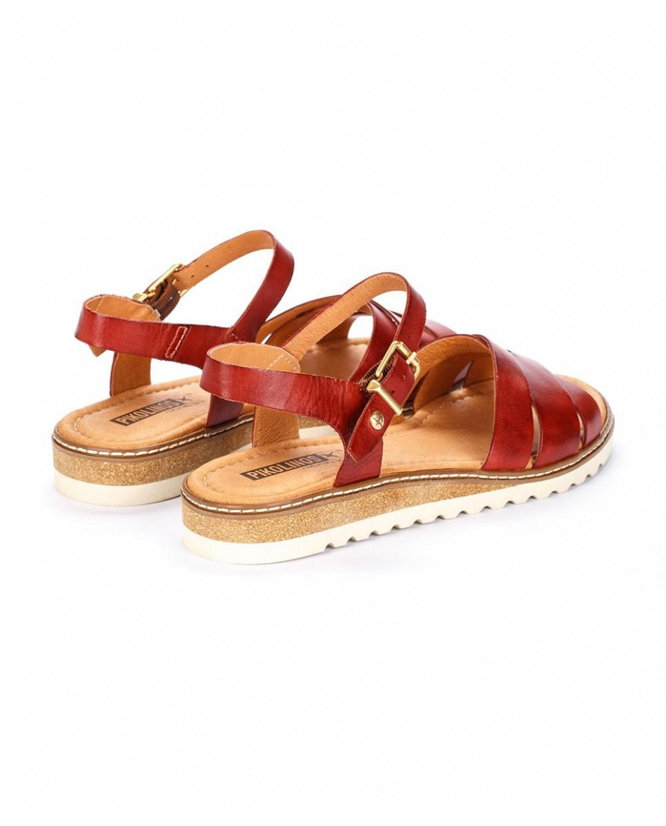 6401e7cbd64 Sandalias planas de mujer Pikolinos de piel rojo