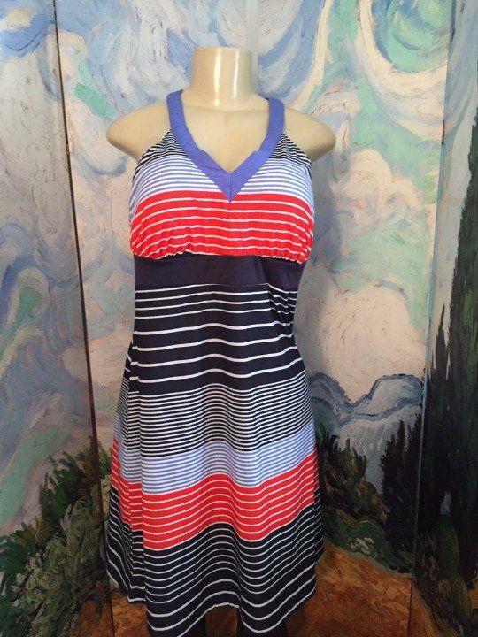 Zeroxposur Blue Striped Racerback Dress Mercari