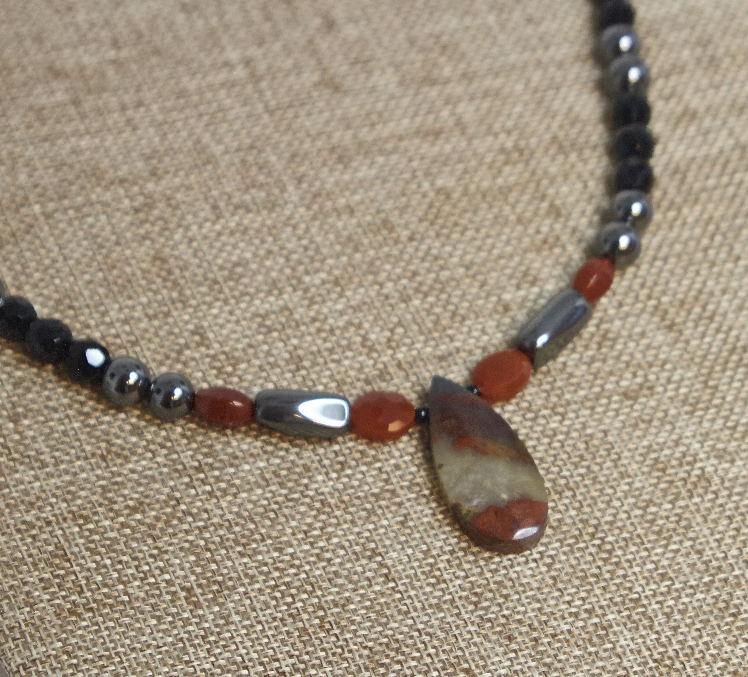 Iron Tiger Stone complimented with Red Jasper, Hematite