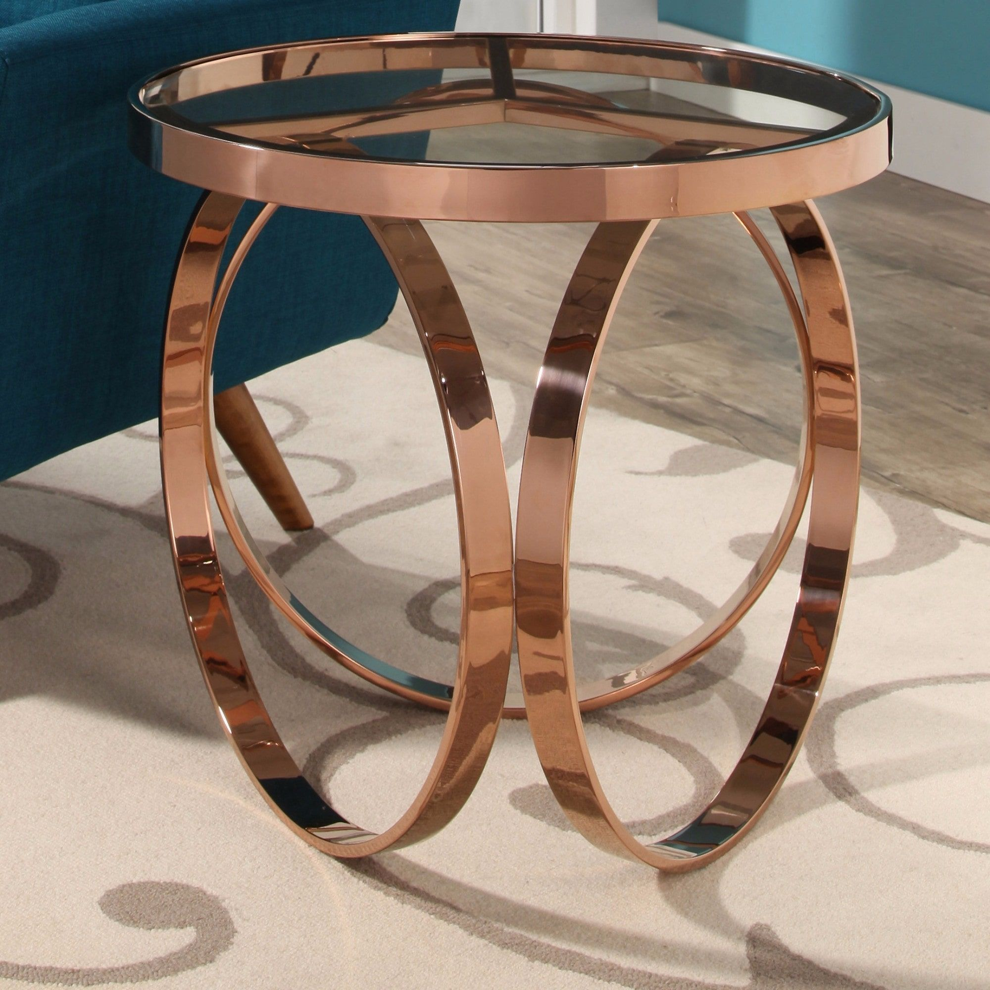 Abbyson Pearl Rose Gold Metal End Table Rose Gold Pink