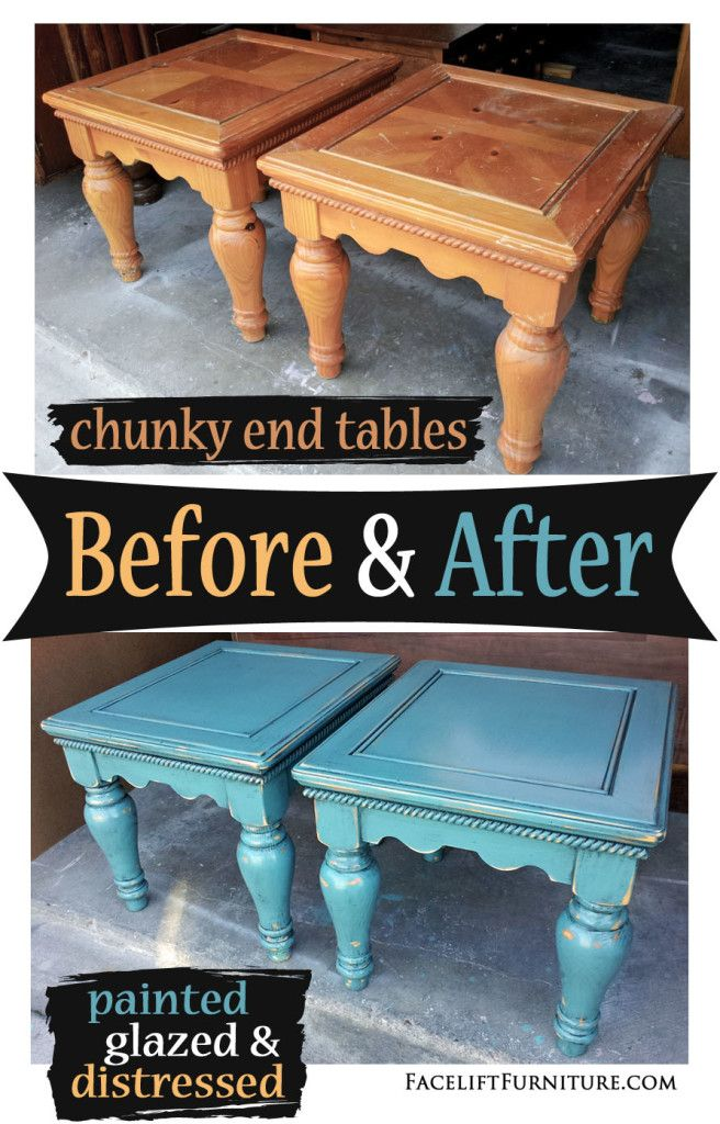 Chunky End Tables In Distressed Sea Blue Before After Black Painted Furniture Painted Table Painted End Tables