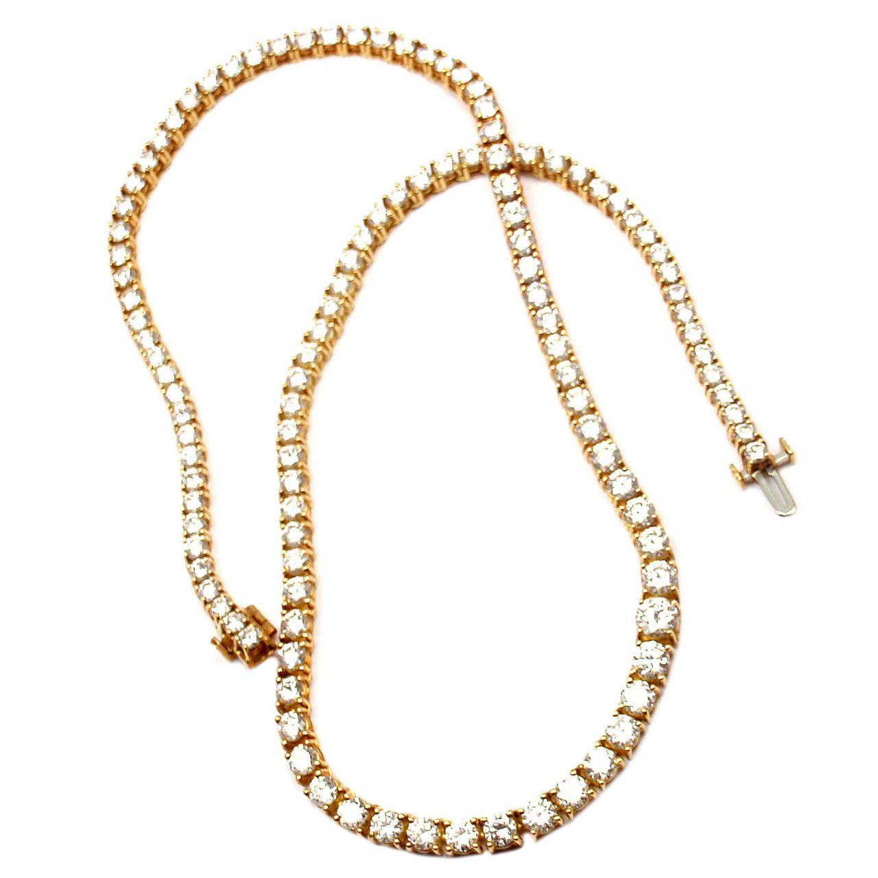 Tiffany and Co. 12.38 Carat Diamond Gold Tennis Necklace
