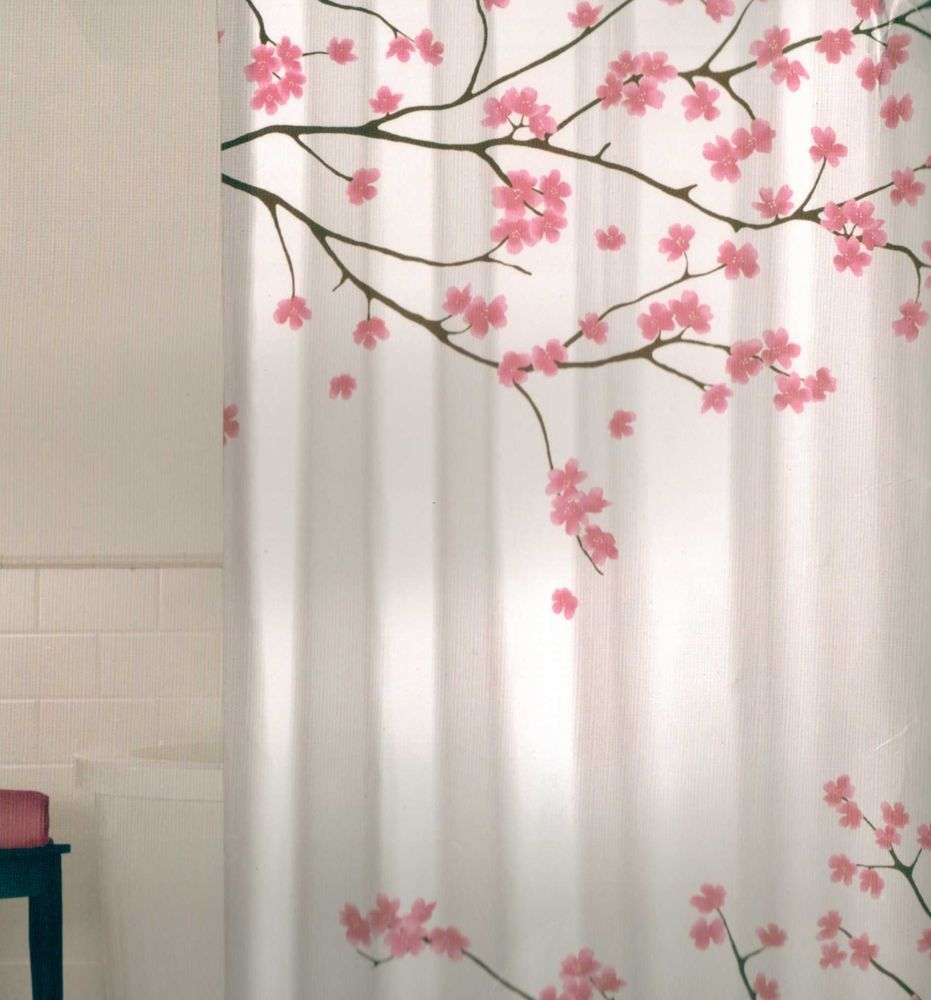 Floral Cherry Blossom Pink Brown White Quality Fabric Shower ...