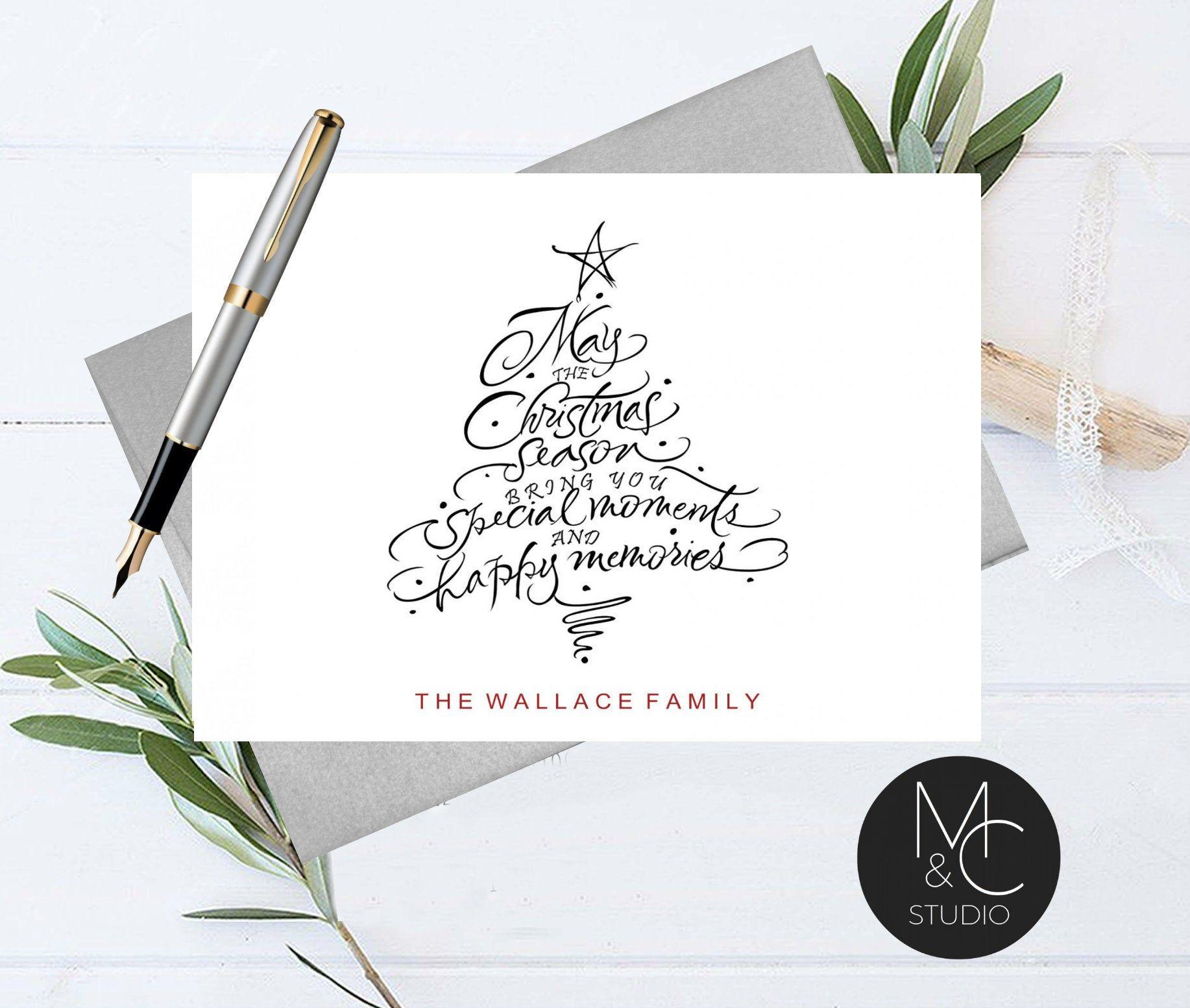 personalized christmas card stationary set of folded