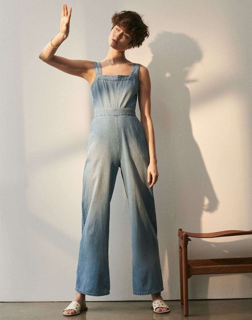 170522c3c97 madewell apron bow-back jumpsuit worn with the boardwalk post slide sandal.