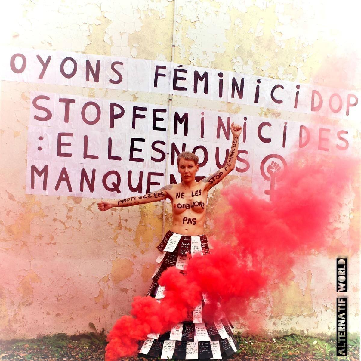Alternatif world mène l'action féministe : soyons féminicidophobe. Contre les féminicides, collages, création robe femmage aux victimes.  #activisme #féminisme #féministe #féminicides #collages #alternatifworld #girlpower #florencejacquet