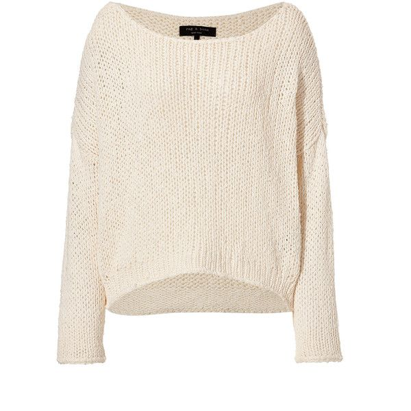 RAG & BONE Cotton-Silk Pullover in Cream (€215) ❤ liked on Polyvore featuring tops, sweaters, shirts, jumpers, cream shirt, pink shirt, pink sweater, pullover sweater and loose shirts