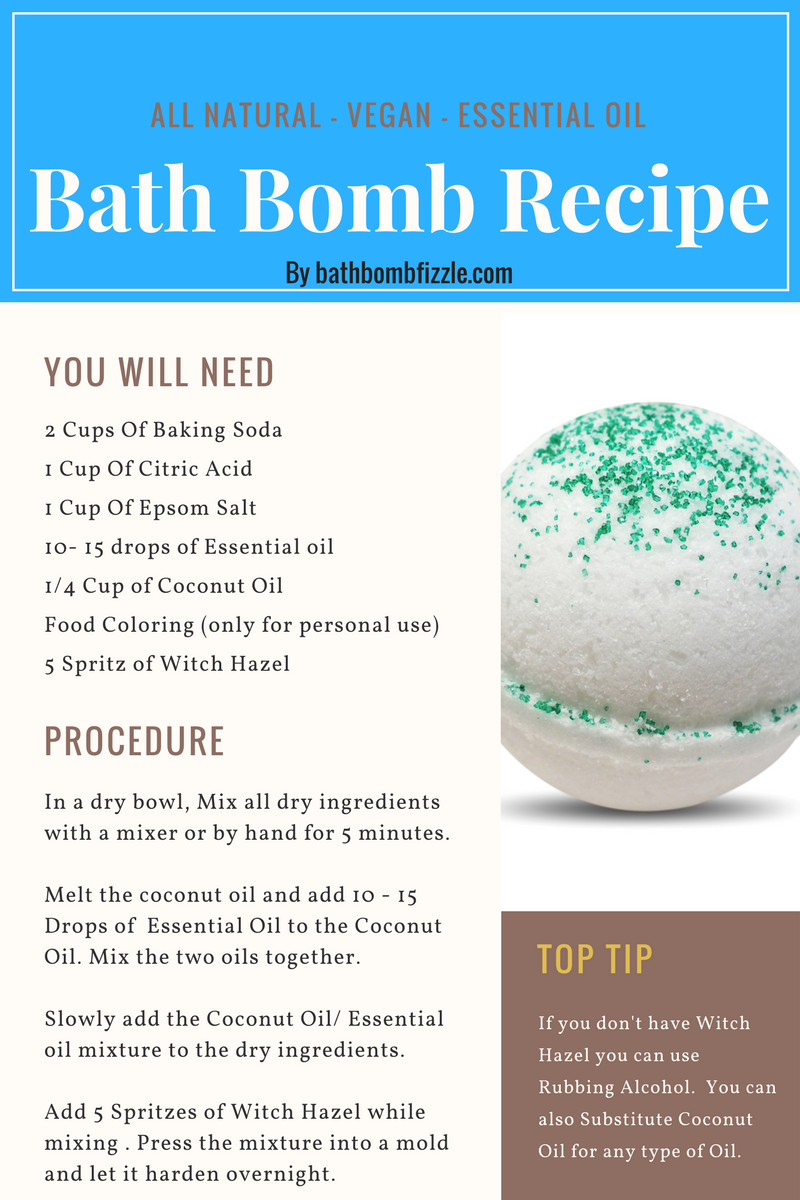 Diy All Natural Bath Bomb Recipe That Is Vegan With Essential Oil Bath Bombs Diy Recipes Natural Bath Bombs Bath Bomb Recipes