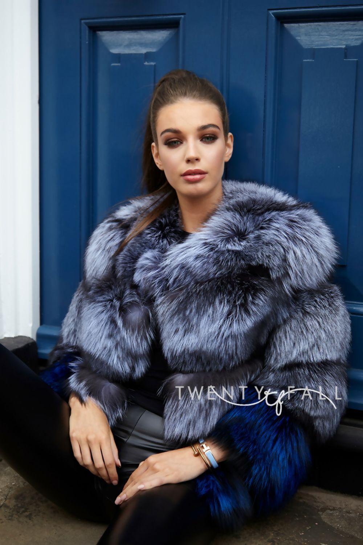 Bella Silver/Blue Fox Fur Coat Fox fur coat