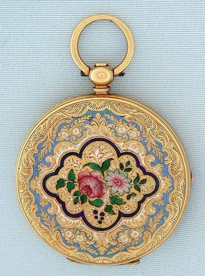 18K gold and enamel Swiss keywind antique pendant watch by Albaret Freres circa 1860.