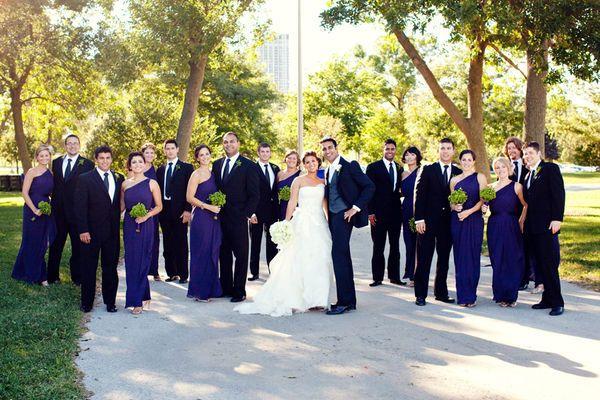Love the dark purple/blue of the bridesmaids' dresses