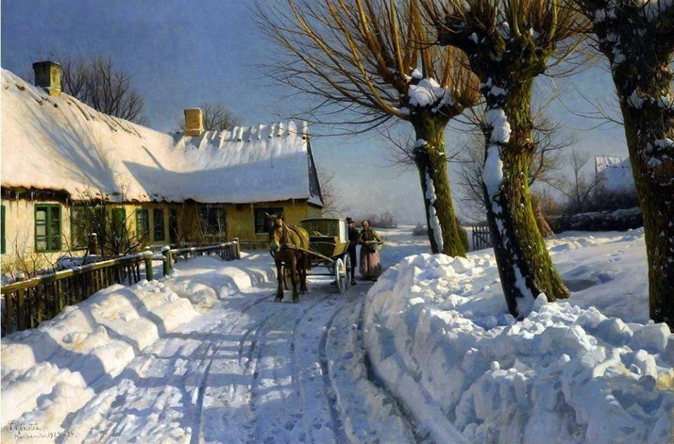 Peder M/ørk M/ønsted Winter Scene with Road and Silver Birches