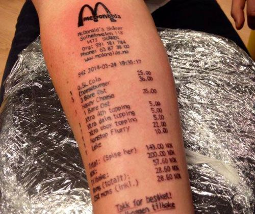 Newest Entry For World S Worst Tattoo Mcdonalds Tattoo Food