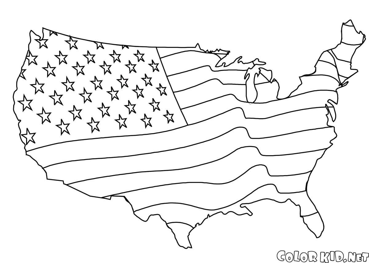 Download or print out the coloring page American flag Map | Coloring ...