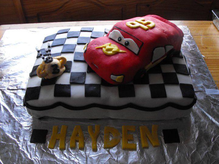 Haydens 3rd Birthday Cake Lightning Mcqueen On The Piston Cup