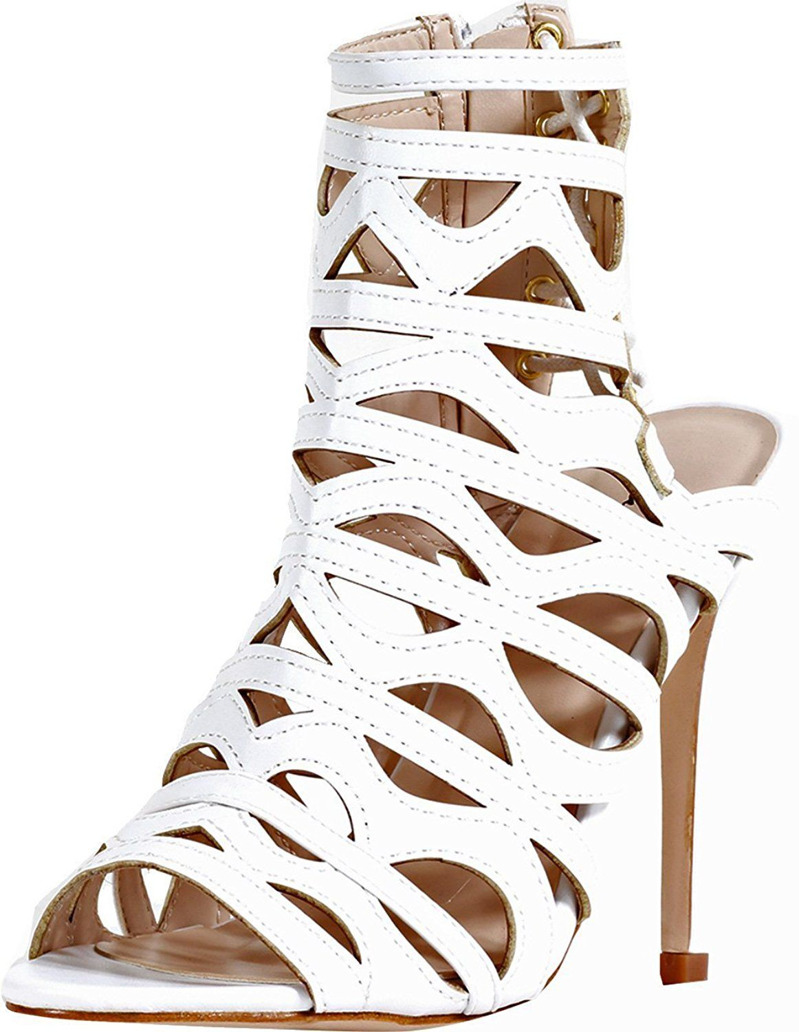 54a2501d4db27c Qupid Women s Harp-02 Sexy High Stiletto Heel Cut Out Lace Up Cage Bootie    See this great image   Gladiator sandals