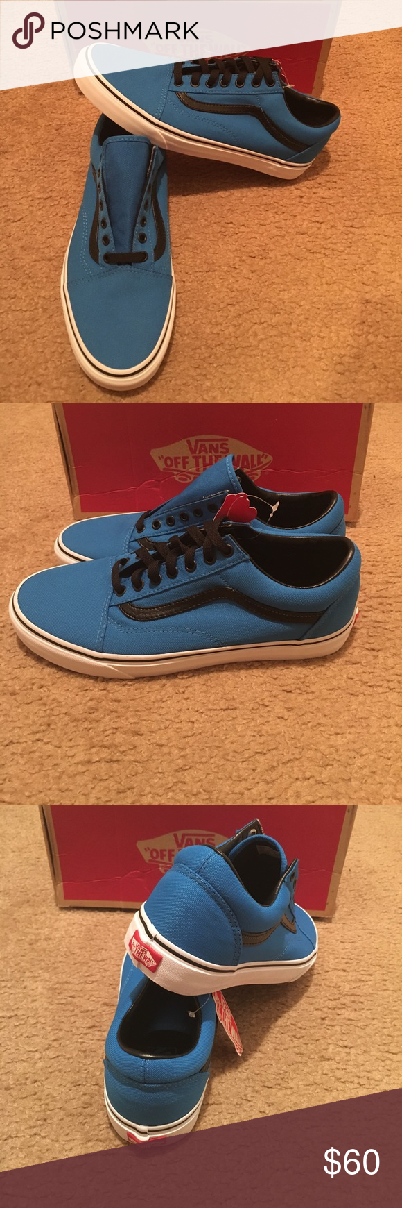 neon blue old skool vans