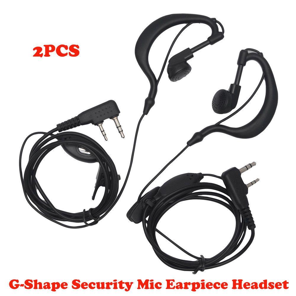 50p D-Shape 2Pin Soft Ear Hook Earpiece Headset Microphone For Kenwood Baofeng