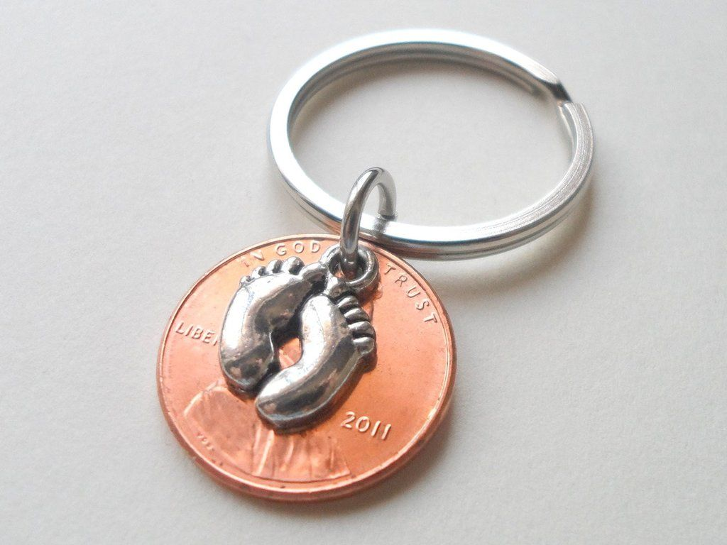 Baby Feet Charm Layered Over 2011 Penny Keychain; Mother's Keychain, Father's Keychain