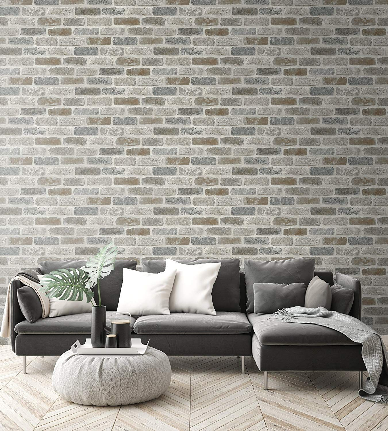 Nextwall Washed Faux Brick Peel And Stick Wallpaper Amazon Com Faux Brick Wallpaper Faux Brick Brick Wallpaper Peel And Stick