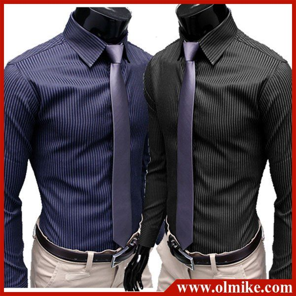 Free shipping!!! Mens Designer Stripes Dress Shirts Tops Casual ...