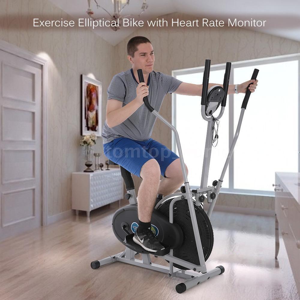 8 2da Elliptical Bike 2 In 1 Dual Cross Trainer Machine With Heart Rate Monitor Biking Workout Workout Machines Cross Trainer Machine