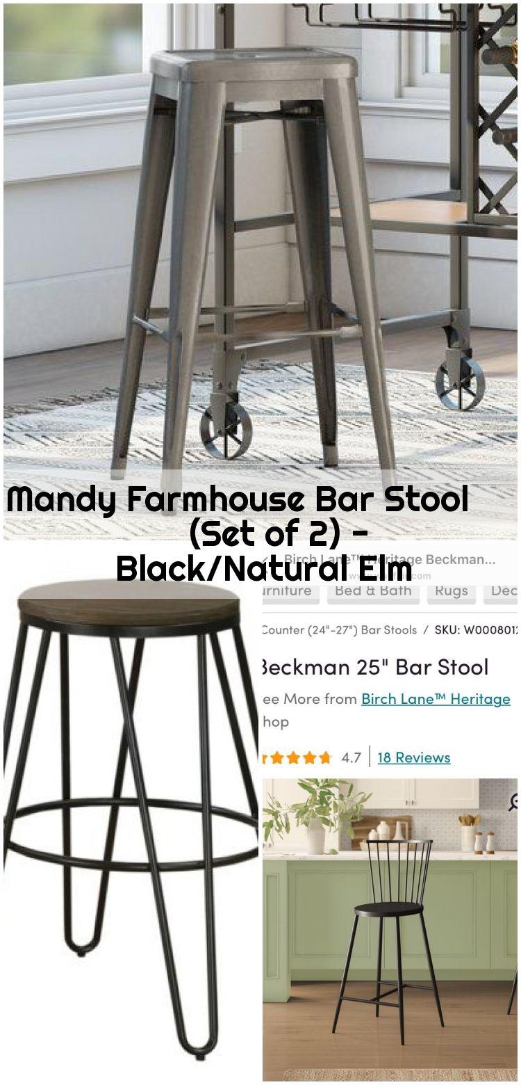 Mandy Farmhouse Bar Stool Set Of 2 Black Natural Elm Mandy Farmhouse Bar Stool Set Of 2 Black Bar Blacknatural Elm Farmhouse Mandy Set St