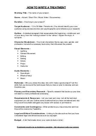 Treatment Template | loglines and treatments | Pinterest
