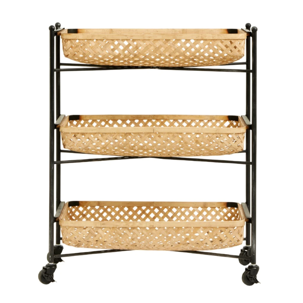 Bamboo Trolley On Wheels 83cm In 2020 With Images Bamboo Metal Rack Serving Cart