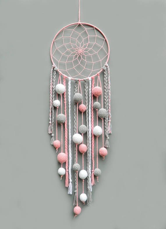 Pink nursery dream catcher Kids room decor wall hanging Christmas gift for baby girl Dreamcatcher with pompoms Baby shower gift